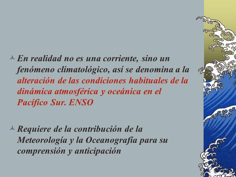 Esta alteración en la superficie del mar fue asociada con la disminución de la pesca, cambios en las precipitaciones y en la flora y fauna del país.