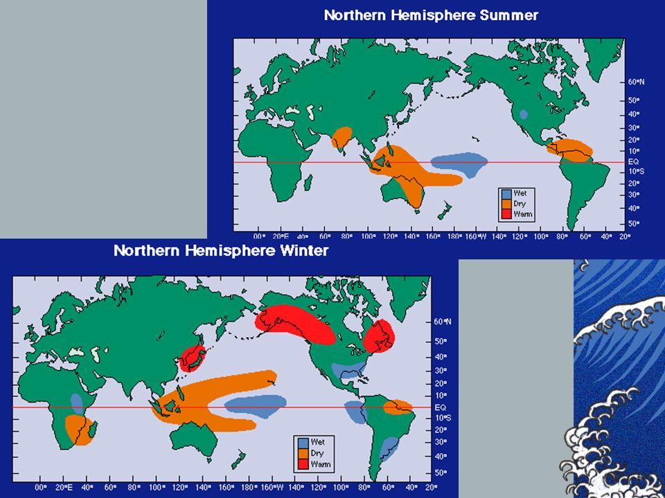 El Niño como fenómeno Global Los efectos del Niño se dejan sentir en todas las zonas del planeta, al modificarse las circulaciones globales atmosféric
