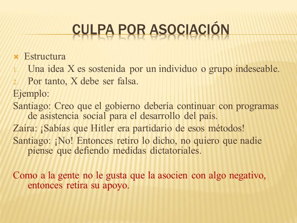 Estructura Una idea X es sostenida por un individuo o grupo indeseable. Por tanto, X debe ser falsa. Ejemplo: Santiago: Creo que el gobierno debería c