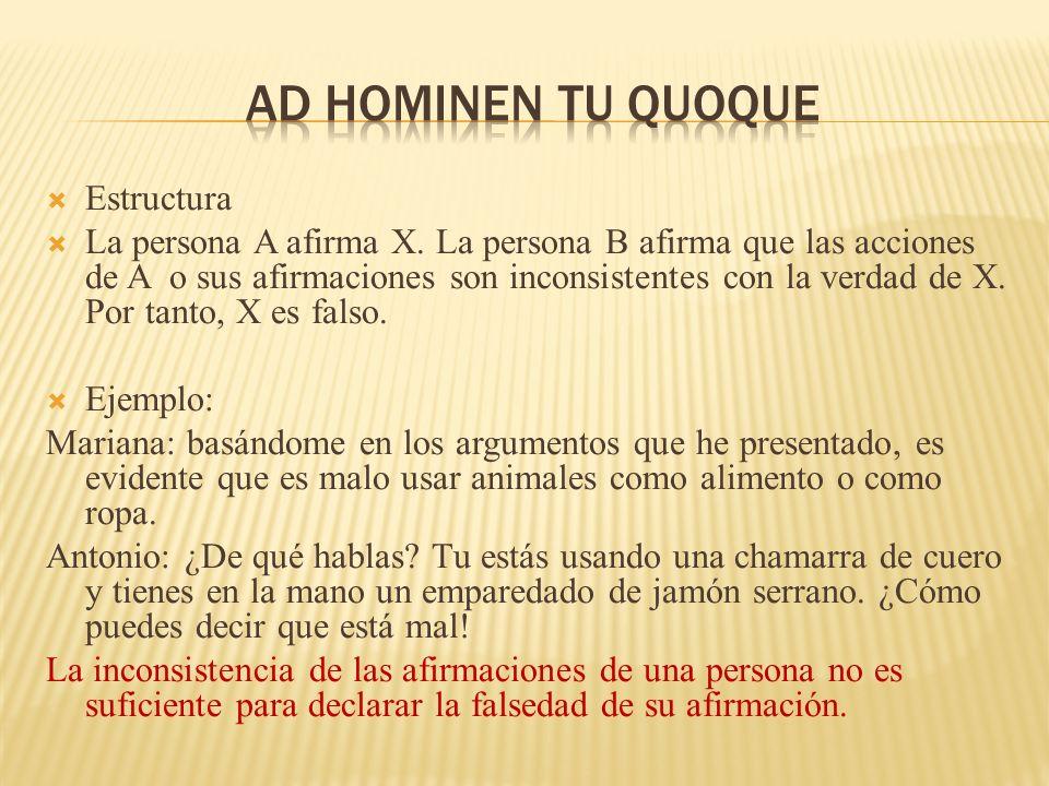 Estructura La persona A afirma X. La persona B afirma que las acciones de A o sus afirmaciones son inconsistentes con la verdad de X. Por tanto, X es