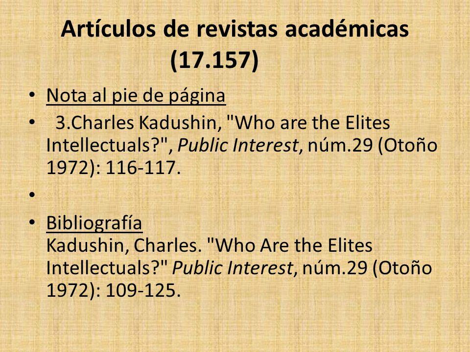 Artículos de revistas académicas (17.157) Nota al pie de página 3.Charles Kadushin,