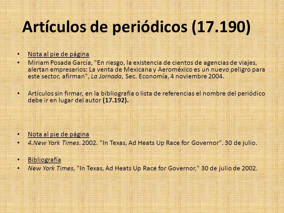 Artículos de periódicos (17.190) Nota al pie de página Miriam Posada García,