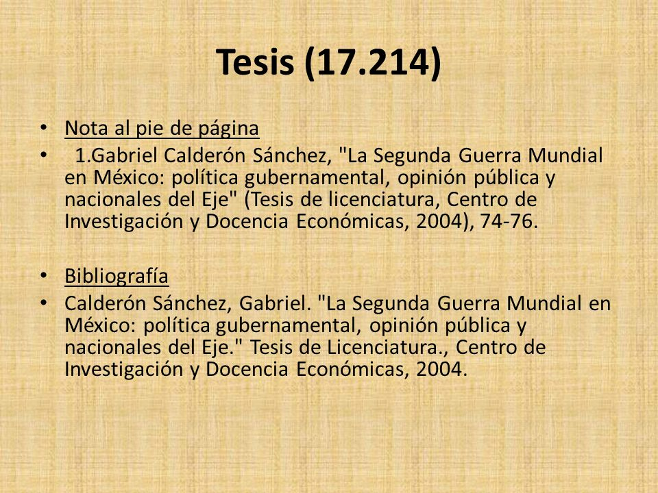 Tesis (17.214) Nota al pie de página 1.Gabriel Calderón Sánchez,