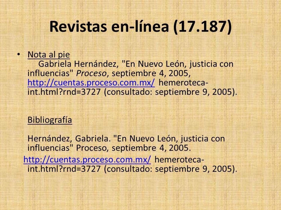 Revistas en-línea (17.187) Nota al pie Gabriela Hernández,