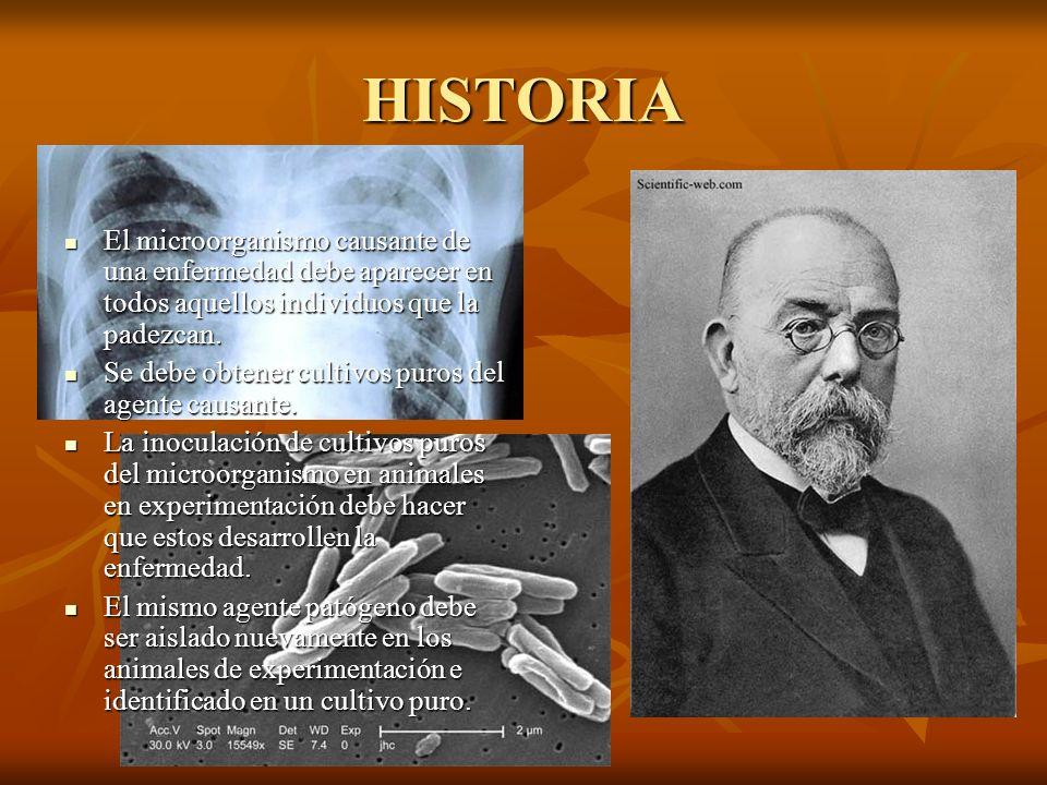 HISTORIA El microorganismo causante de una enfermedad debe aparecer en todos aquellos individuos que la padezcan. El microorganismo causante de una en