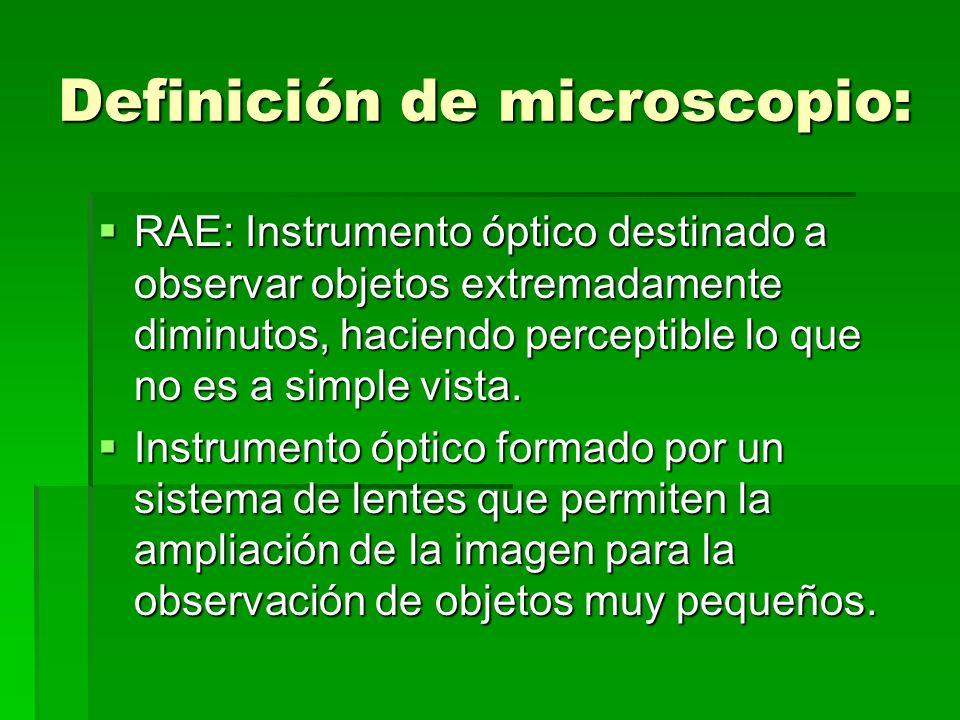 Definición de microscopio: RAE: Instrumento óptico destinado a observar objetos extremadamente diminutos, haciendo perceptible lo que no es a simple v