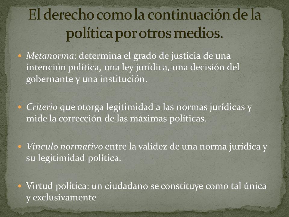 Metanorma: determina el grado de justicia de una intención política, una ley jurídica, una decisión del gobernante y una institución. Criterio que oto