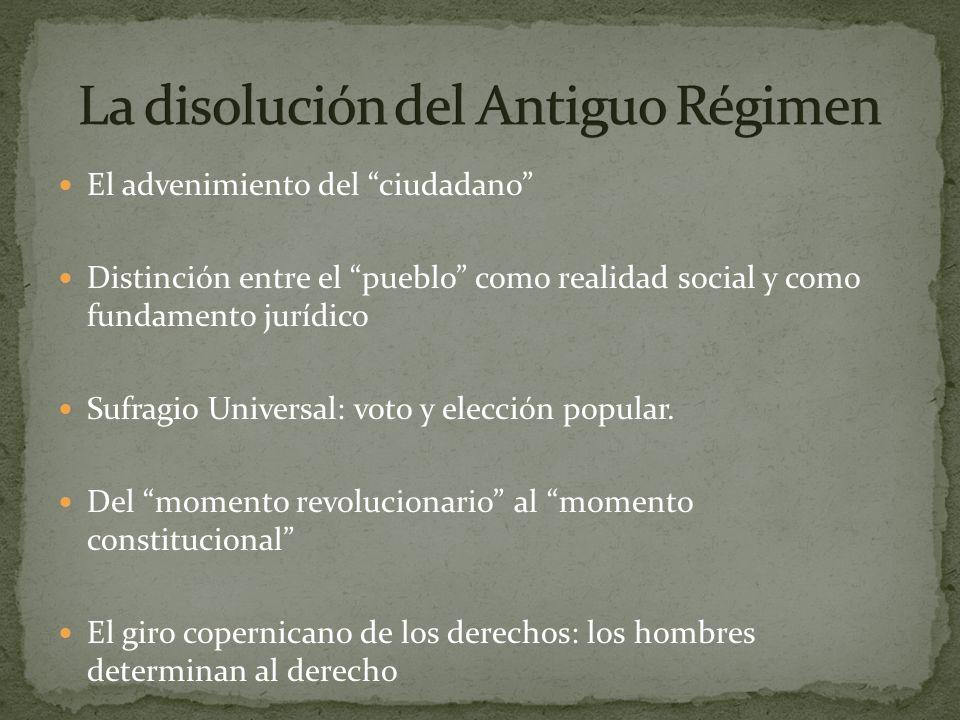 El advenimiento del ciudadano Distinción entre el pueblo como realidad social y como fundamento jurídico Sufragio Universal: voto y elección popular.