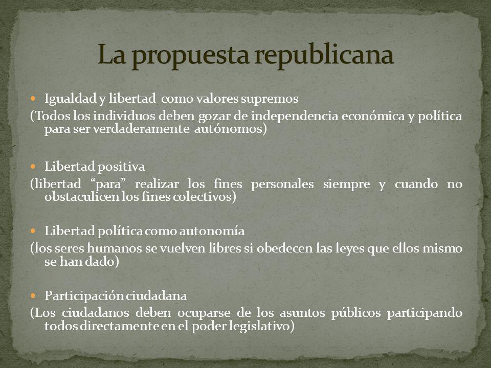 Igualdad y libertad como valores supremos (Todos los individuos deben gozar de independencia económica y política para ser verdaderamente autónomos) L