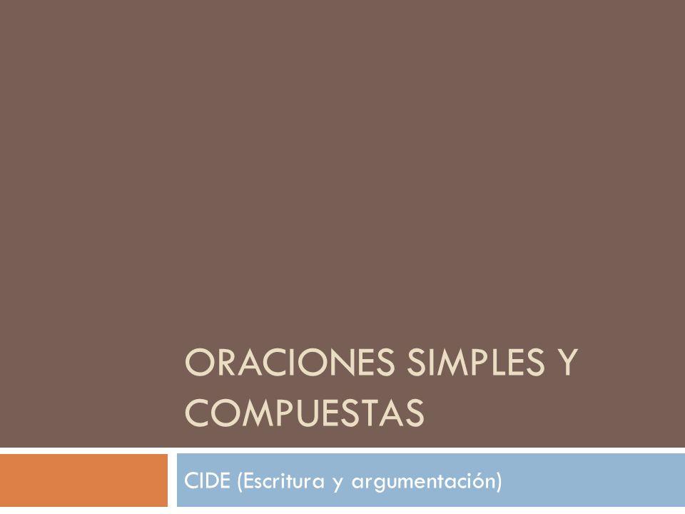 ORACIONES SIMPLES Y COMPUESTAS CIDE (Escritura y argumentación)