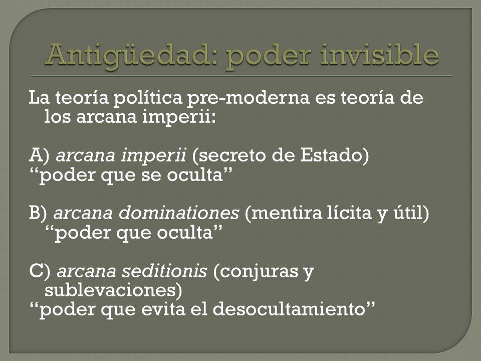 La teoría política pre-moderna es teoría de los arcana imperii: A) arcana imperii (secreto de Estado) poder que se oculta B) arcana dominationes (ment