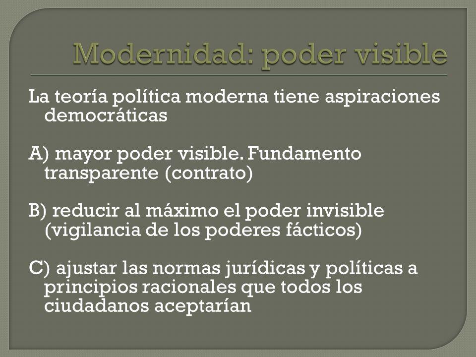 La teoría política moderna tiene aspiraciones democráticas A) mayor poder visible. Fundamento transparente (contrato) B) reducir al máximo el poder in