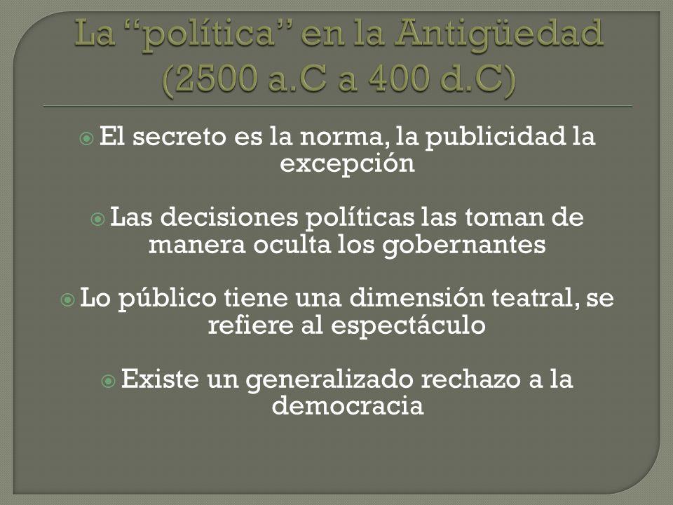 El secreto es la norma, la publicidad la excepción Las decisiones políticas las toman de manera oculta los gobernantes Lo público tiene una dimensión