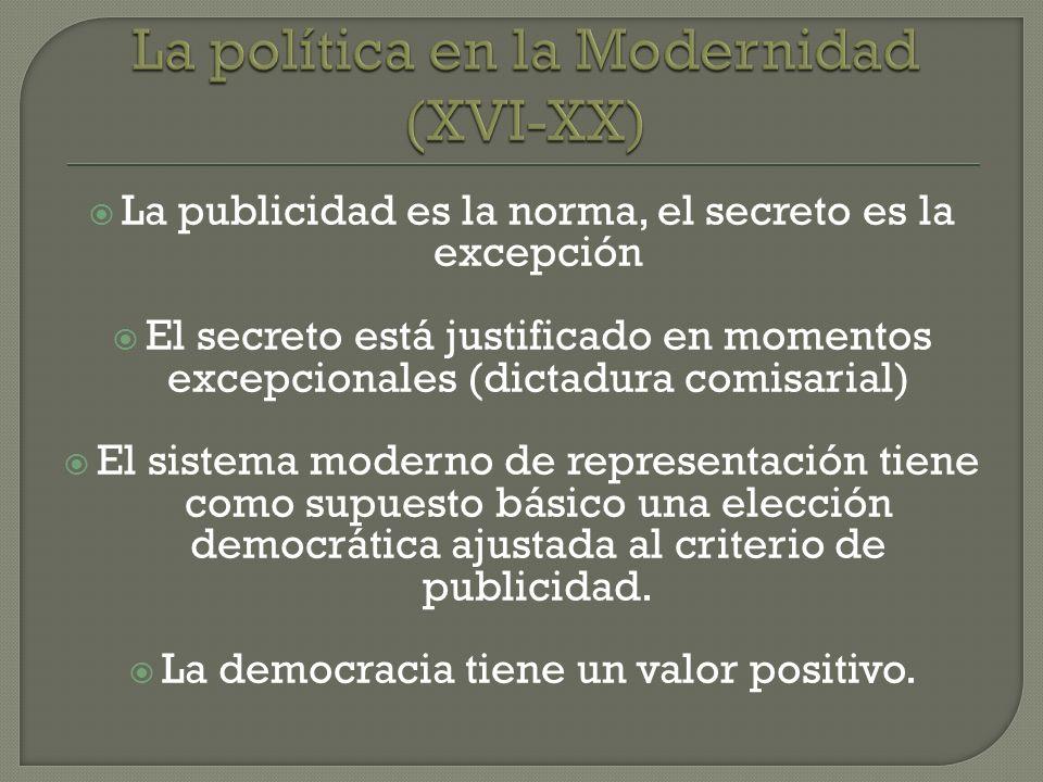 La publicidad es la norma, el secreto es la excepción El secreto está justificado en momentos excepcionales (dictadura comisarial) El sistema moderno