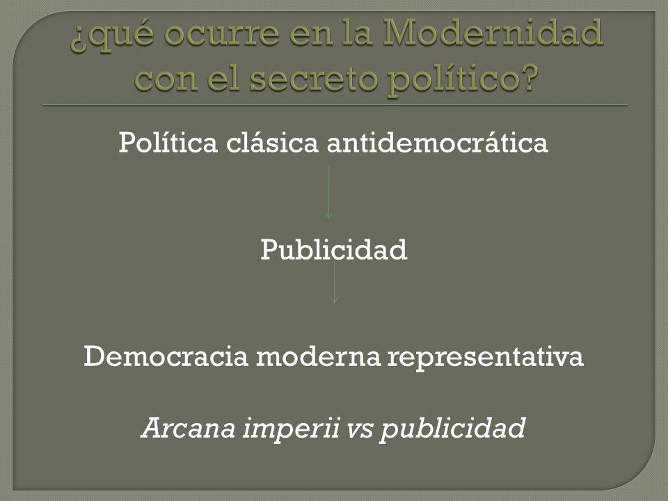 Política clásica antidemocrática Publicidad Democracia moderna representativa Arcana imperii vs publicidad