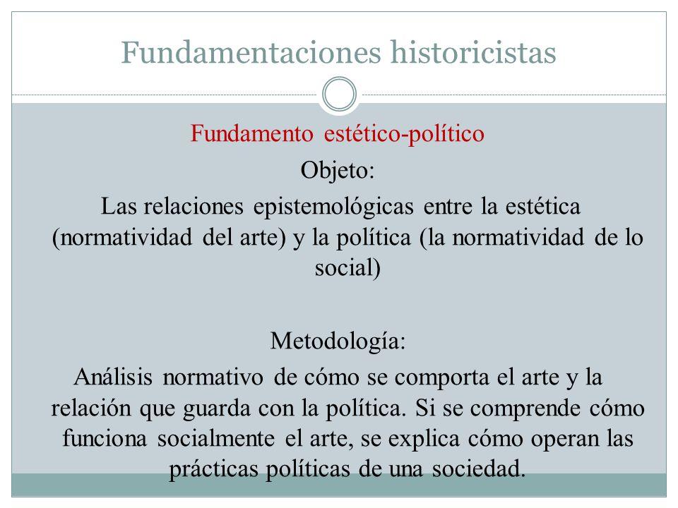 Fundamentaciones historicistas Fundamento estético-político Objeto: Las relaciones epistemológicas entre la estética (normatividad del arte) y la polí