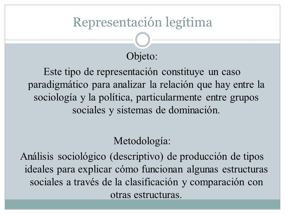 Representación legítima Objeto: Este tipo de representación constituye un caso paradigmático para analizar la relación que hay entre la sociología y l