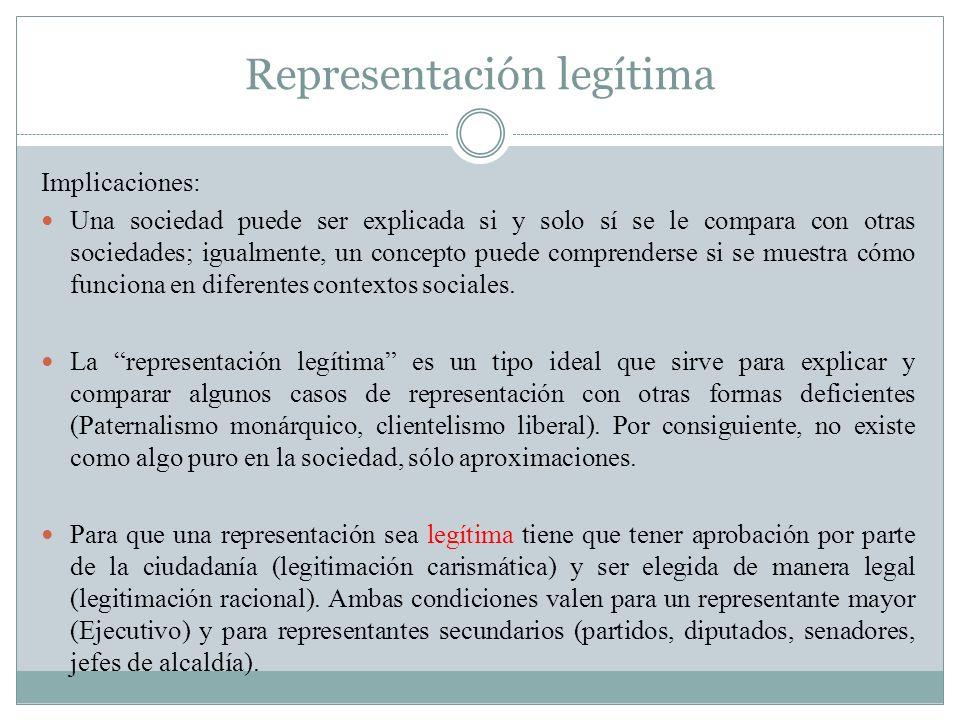 Representación legítima Implicaciones: Una sociedad puede ser explicada si y solo sí se le compara con otras sociedades; igualmente, un concepto puede