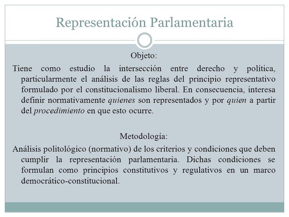 Representación Parlamentaria Objeto: Tiene como estudio la intersección entre derecho y política, particularmente el análisis de las reglas del princi