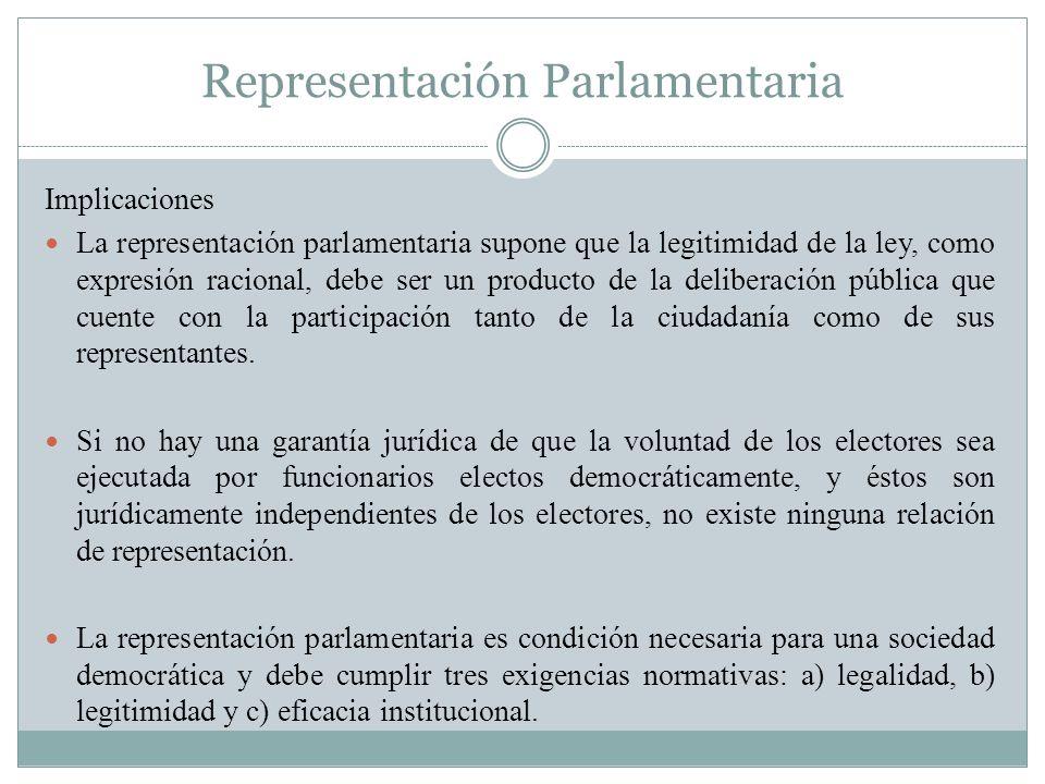 Representación Parlamentaria Implicaciones La representación parlamentaria supone que la legitimidad de la ley, como expresión racional, debe ser un p