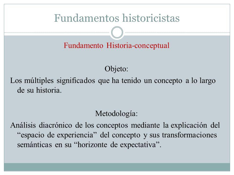 Fundamentos historicistas Fundamento Historia-conceptual Objeto: Los múltiples significados que ha tenido un concepto a lo largo de su historia. Metod
