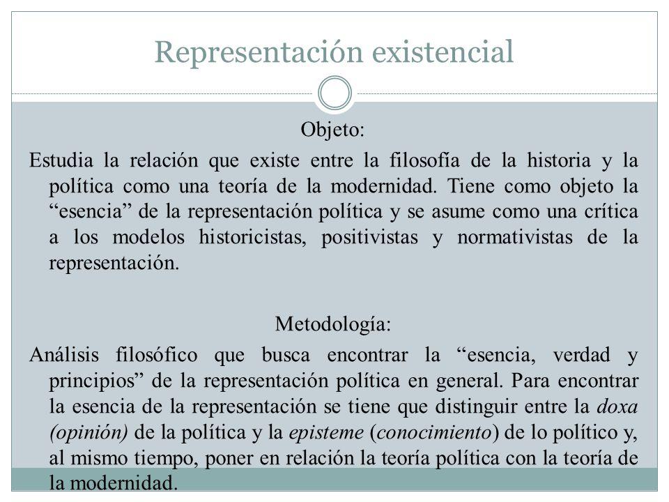 Representación existencial Objeto: Estudia la relación que existe entre la filosofía de la historia y la política como una teoría de la modernidad. Ti