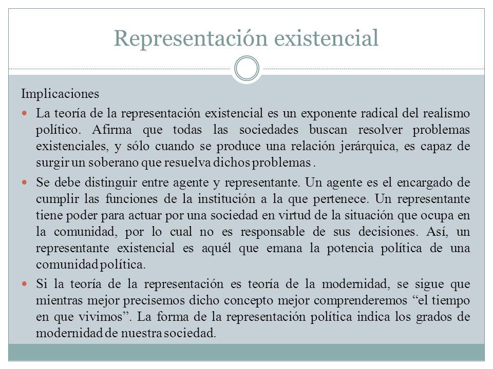 Representación existencial Implicaciones La teoría de la representación existencial es un exponente radical del realismo político. Afirma que todas la