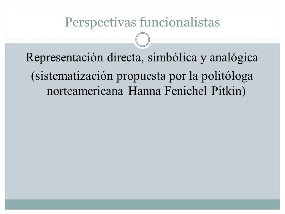 Perspectivas funcionalistas Representación directa, simbólica y analógica (sistematización propuesta por la politóloga norteamericana Hanna Fenichel P