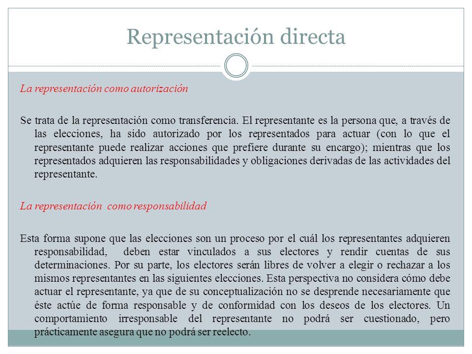 Representación directa La representación como autorización Se trata de la representación como transferencia. El representante es la persona que, a tra