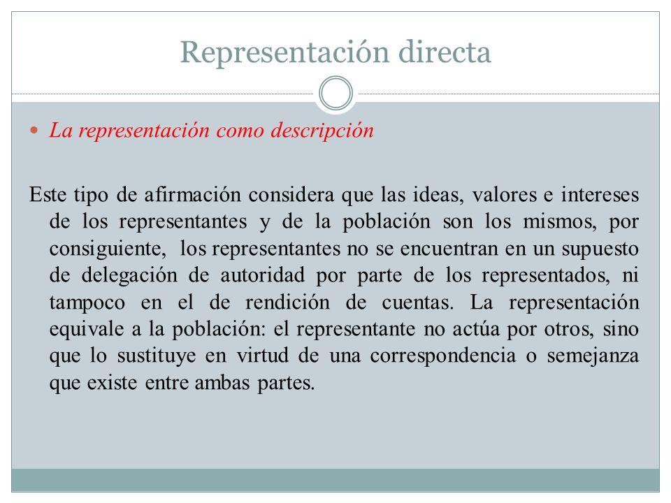 Representación directa La representación como descripción Este tipo de afirmación considera que las ideas, valores e intereses de los representantes y
