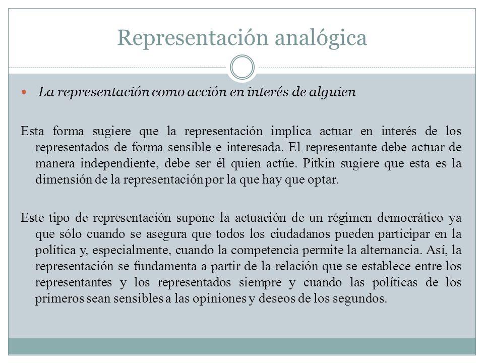Representación analógica La representación como acción en interés de alguien Esta forma sugiere que la representación implica actuar en interés de los