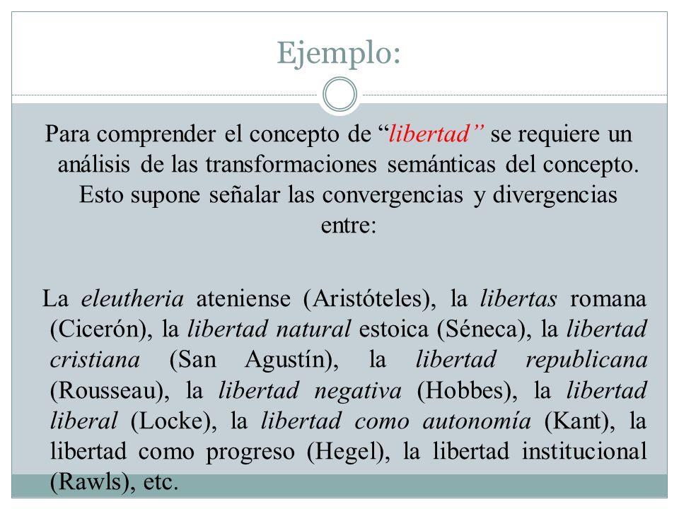 Ejemplo: Para comprender el concepto de libertad se requiere un análisis de las transformaciones semánticas del concepto. Esto supone señalar las conv