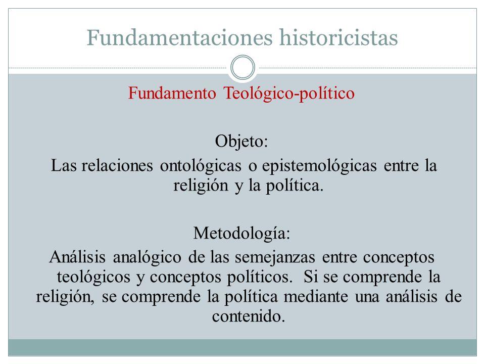 Fundamentaciones historicistas Fundamento Teológico-político Objeto: Las relaciones ontológicas o epistemológicas entre la religión y la política. Met