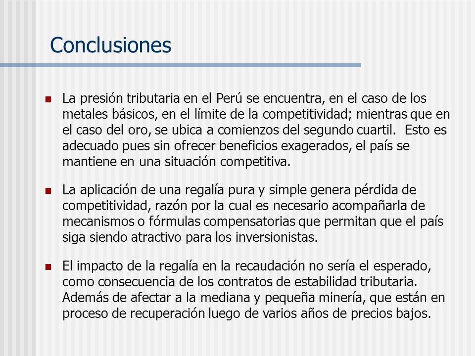 La presión tributaria en el Perú se encuentra, en el caso de los metales básicos, en el límite de la competitividad; mientras que en el caso del oro,