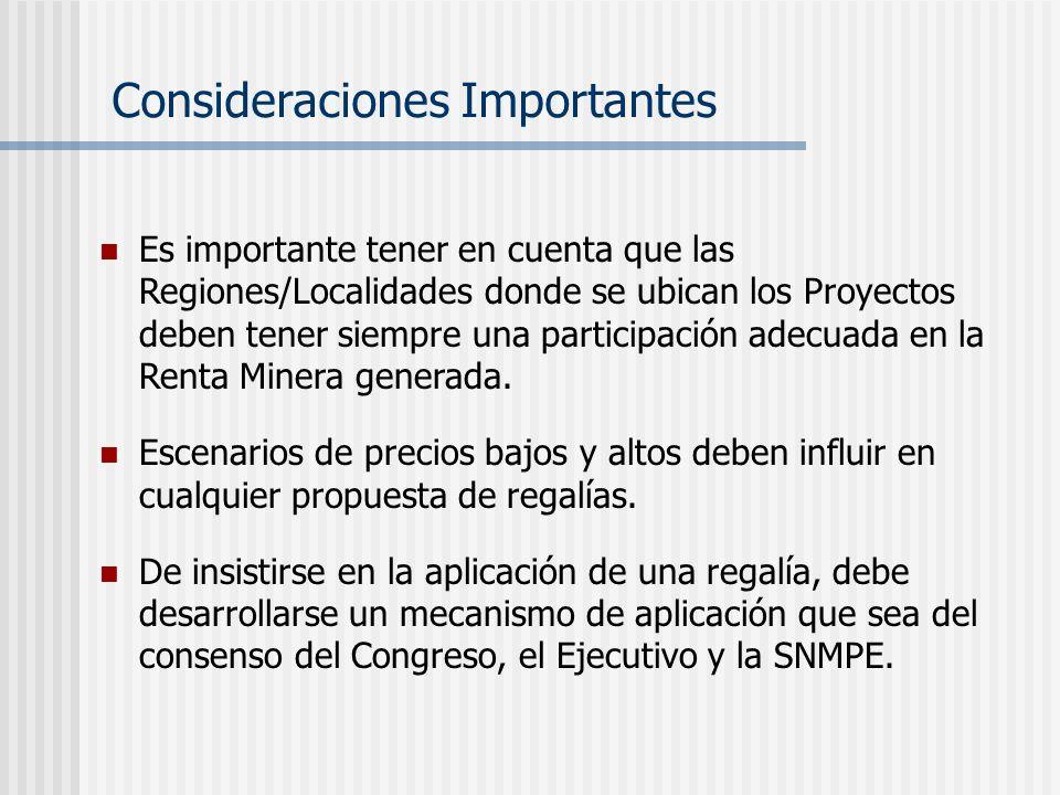 Es importante tener en cuenta que las Regiones/Localidades donde se ubican los Proyectos deben tener siempre una participación adecuada en la Renta Minera generada.