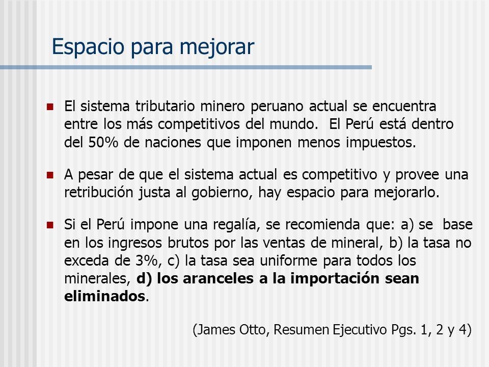 El sistema tributario minero peruano actual se encuentra entre los más competitivos del mundo. El Perú está dentro del 50% de naciones que imponen men