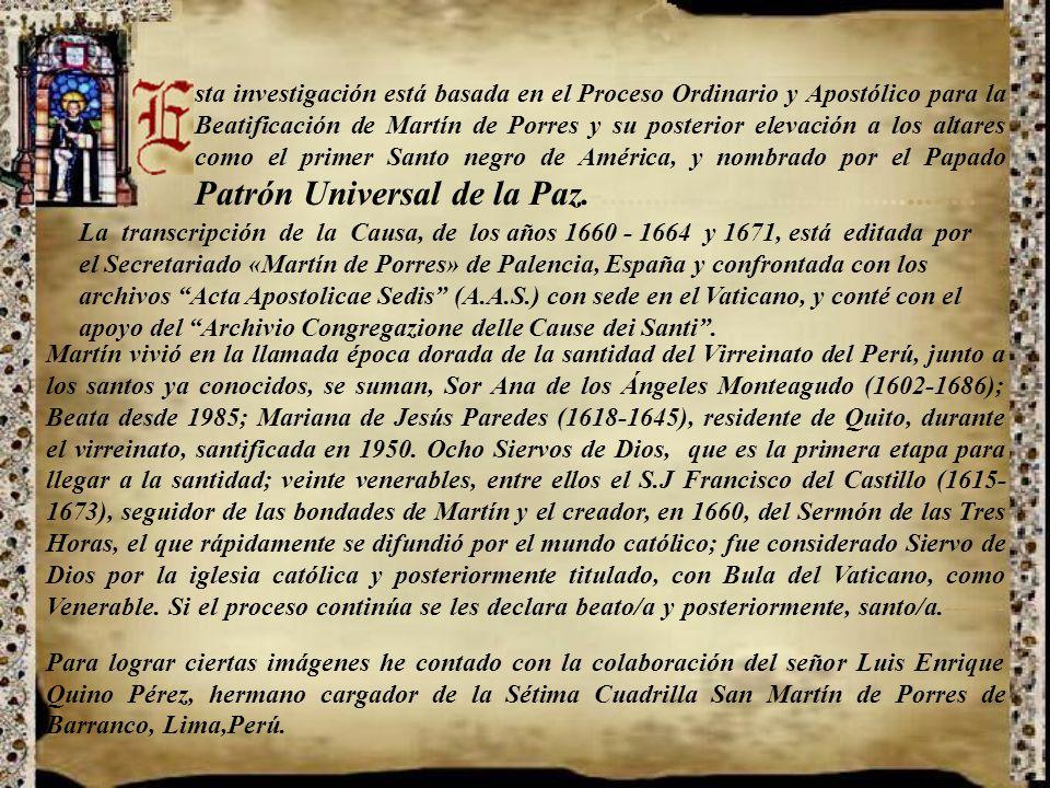 San Martín de Porres 1579-1639 Camino al cincuentenario de su canonización (1962-2012) Presentación Nº 61 Gabriela Lavarello Vargas de Velaochaga Perú