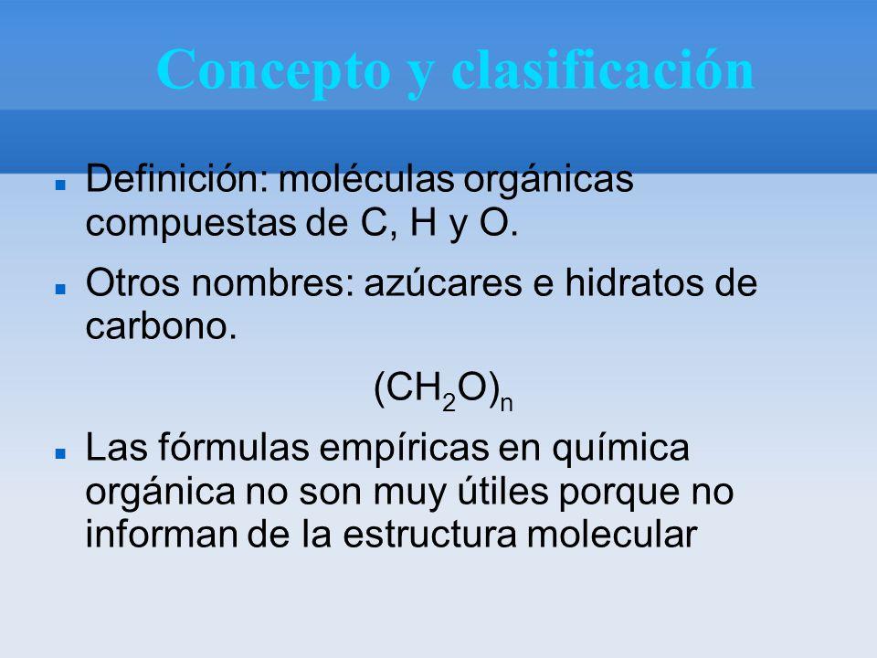 Concepto y clasificación Definición: moléculas orgánicas compuestas de C, H y O.