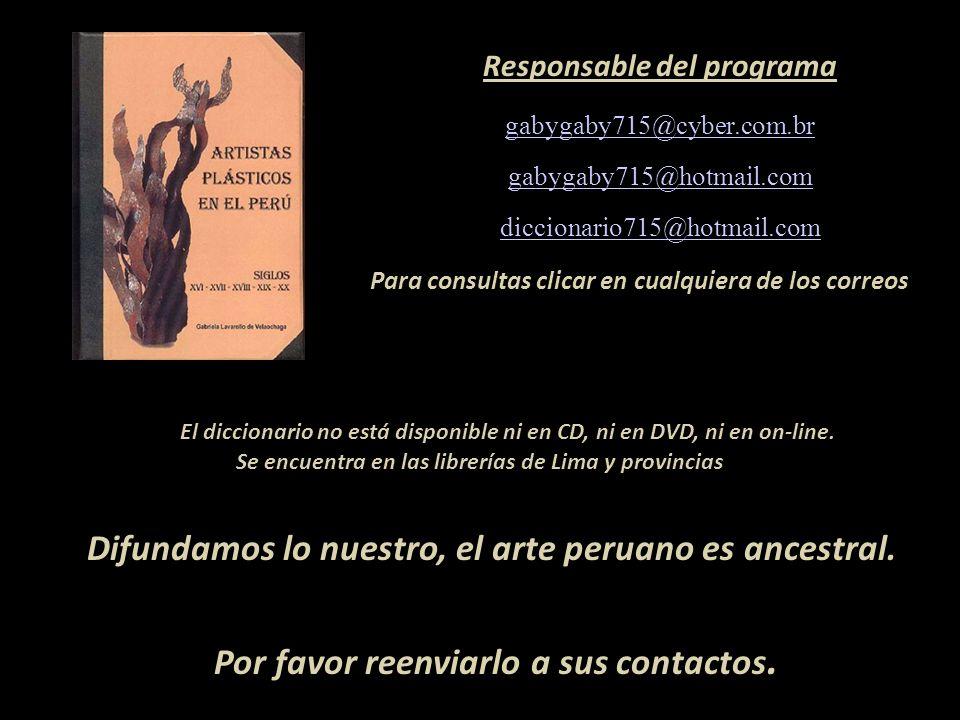 Artista que figura en el diccionario Carátula, escultura de Armando Varela Neyra Lima - Perú Representante de Ventas MARTA COUTO REVOLLEDO 441-3238 -