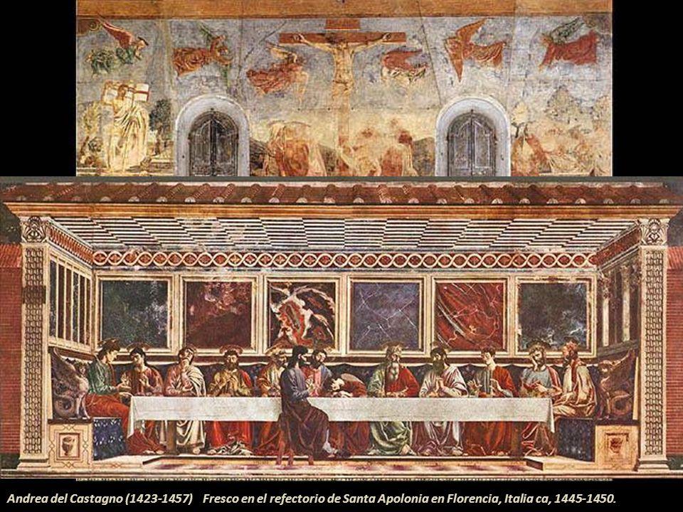 Dieric Bouts ( 1410-1475) Iglesia de San Pedro Lovaina-Bélgica Tabla central del retablo del Sacramento (1464-1468) Las cuatro figuras secundarias son
