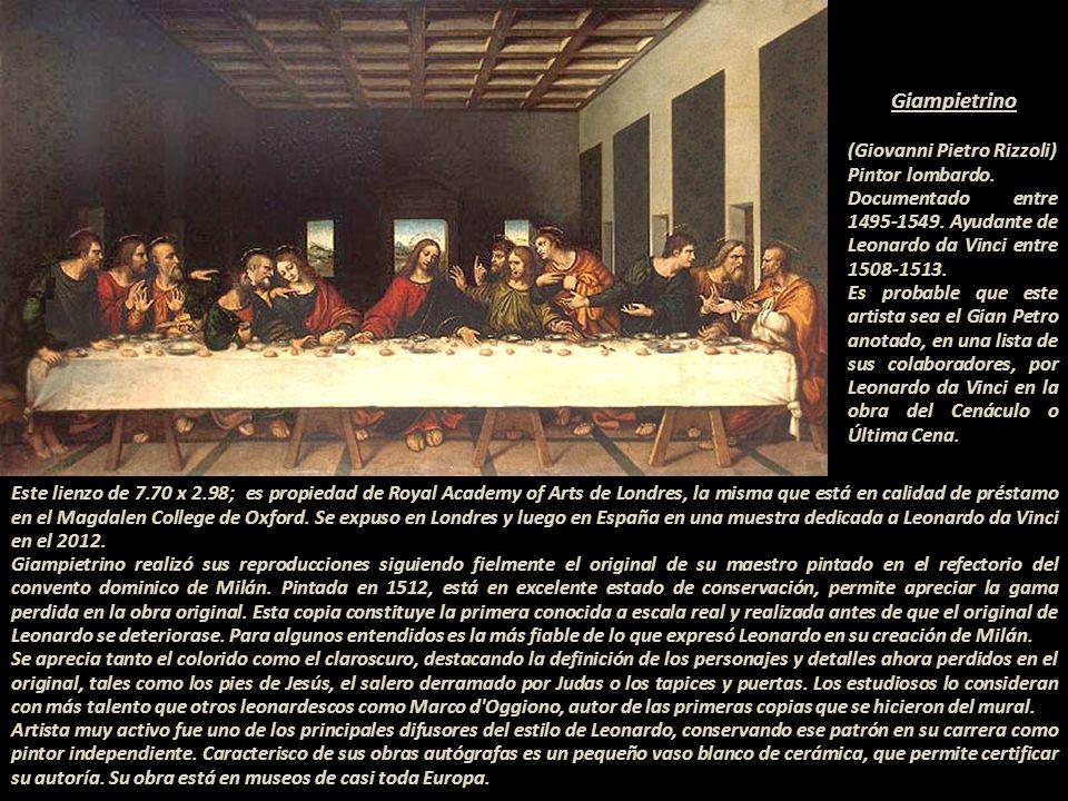 Ficha técnica de la obra: 1494?-1495? al 1497, Leonardo da Vinci pintó La Última Cena. 1652.- Para tener cercanía con la cocina se abrió una puerta el