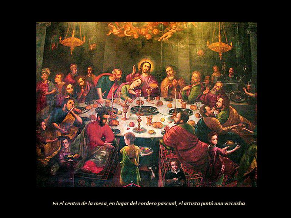Pintura en el refectorio (comedor) del Convento de San Francisco de Lima, representa la Cena Judía (Seder de Pésáj) típica cena familiar celebrando el Éxodo, figuran 32 personas entre niños y adultos..