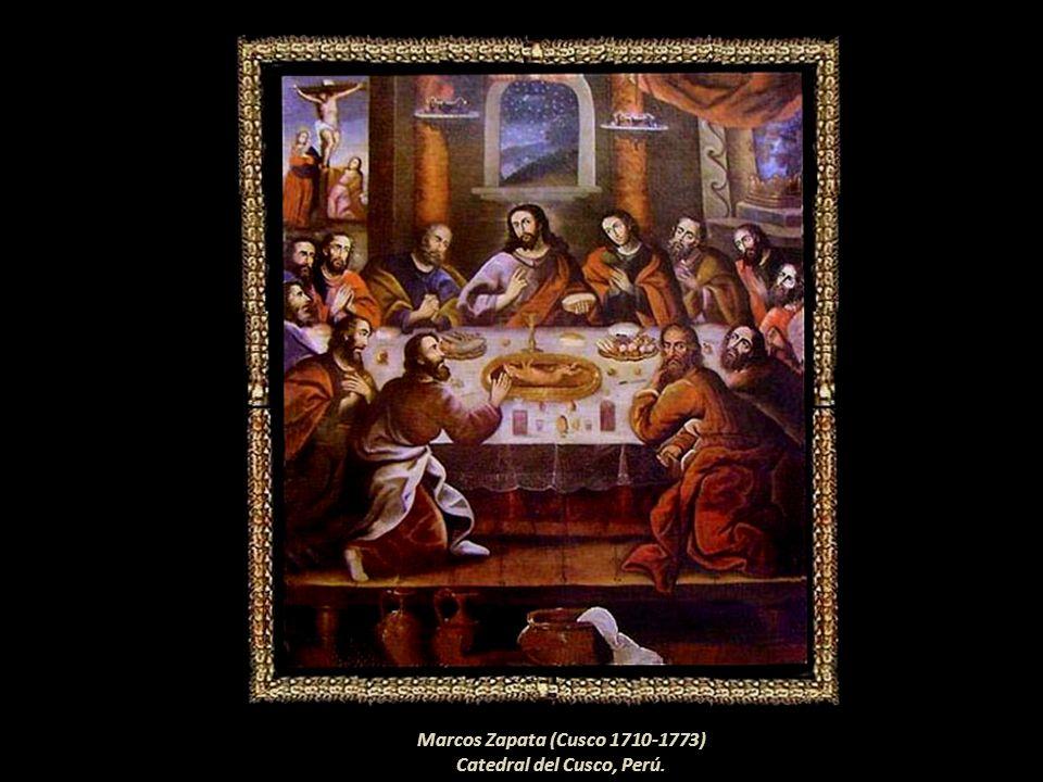 Basilio Santa Cruz Pumaccallao (Cusco 1635?-1710?) En la fuente del centro de la mesa el artista pintó un cuy Catedral del Cusco, Perú.