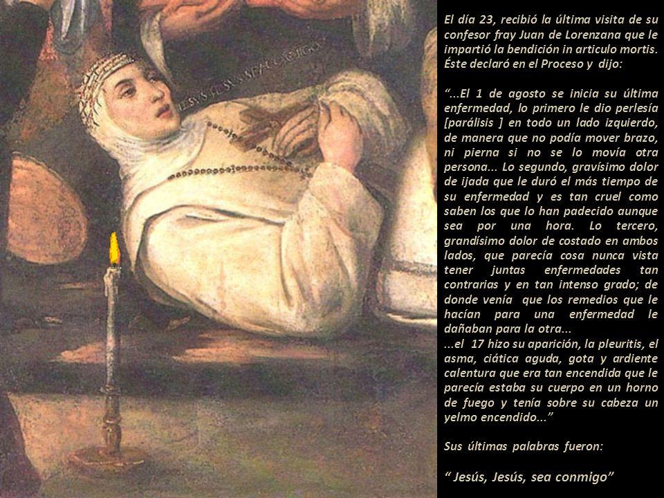 En el momento de su fallecimiento estuvieron veinte personas, entre ellas una de sus discípulas más próximas, Luisa Daza, a quien Rosa le pidió que to
