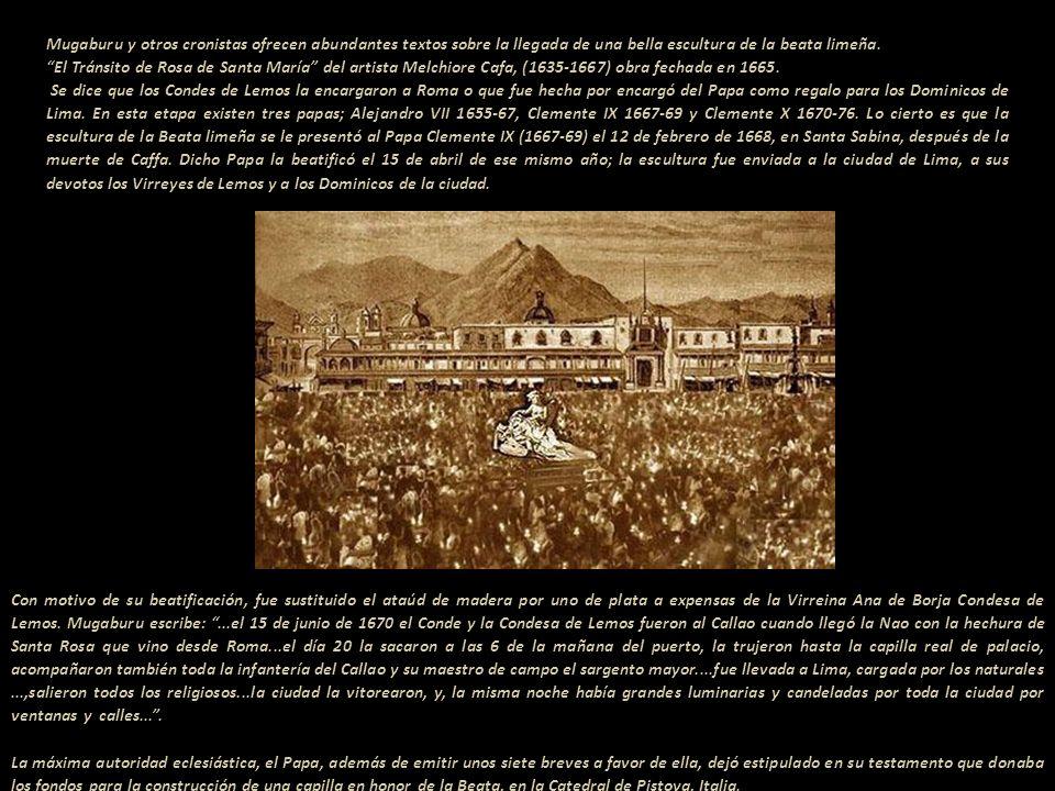 Pocas son las imágenes de Rosa como Beata, en este libro de 1670 ella está en el ángulo inferior derecho de la pantalla. Grabado de Fray Pedro Nolasco