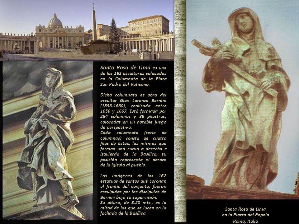 Siendo Santa Rosa de Lima, peruana y Patrona de las Américas, Indias y Filipinas desde el siglo XVII debería de ocupar ese lugar. Escultura, sin ident