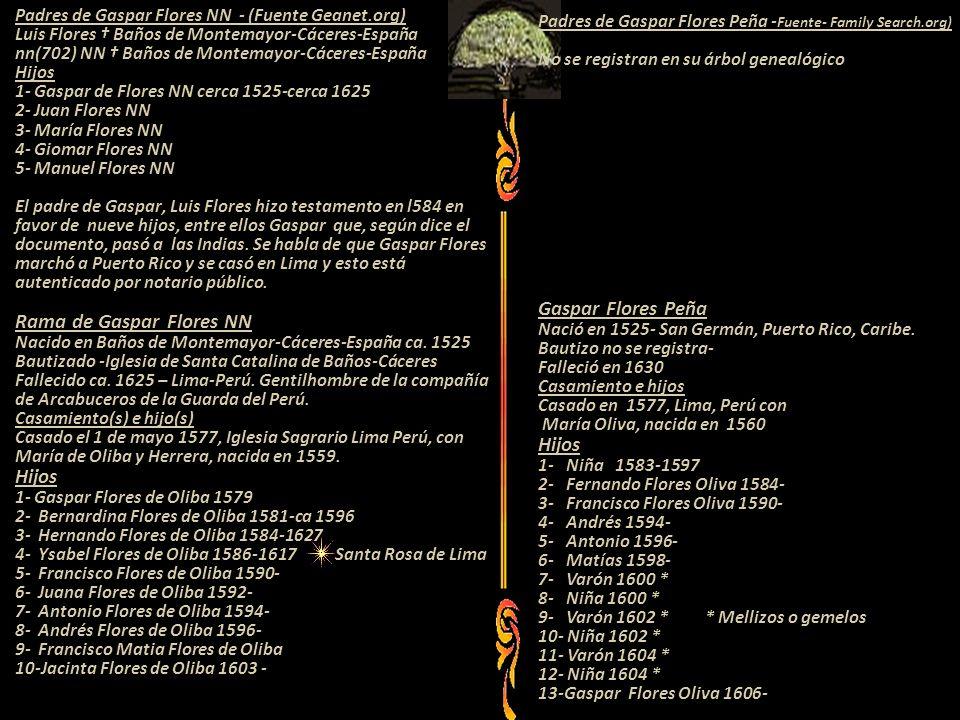 Padres de Gaspar Flores NN - (Fuente Geanet.org) Luis Flores Baños de Montemayor-Cáceres-España nn(702) NN Baños de Montemayor-Cáceres-España Hijos 1- Gaspar de Flores NN cerca 1525-cerca 1625 2- Juan Flores NN 3- María Flores NN 4- Giomar Flores NN 5- Manuel Flores NN El padre de Gaspar, Luis Flores hizo testamento en l584 en favor de nueve hijos, entre ellos Gaspar que, según dice el documento, pasó a las Indias.