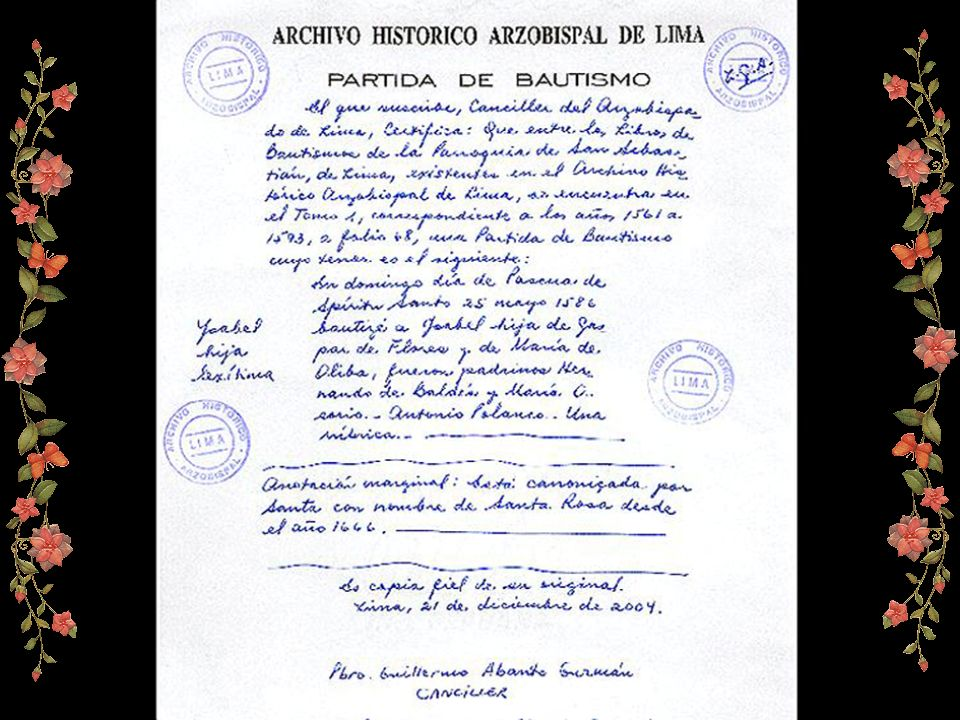 Imagen gracias a la fina cortesía de la señora Laura Gutiérrez Arbulú. Directora del Archivo Arzobispal de Lima. (documento que por primera vez es de