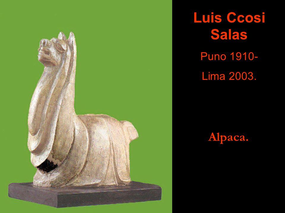 Indio con Yunta de Bueyes. En el Paseo de la República de Lima. Ismael Pozo Velit Huancayo 1905- Lima 1959.