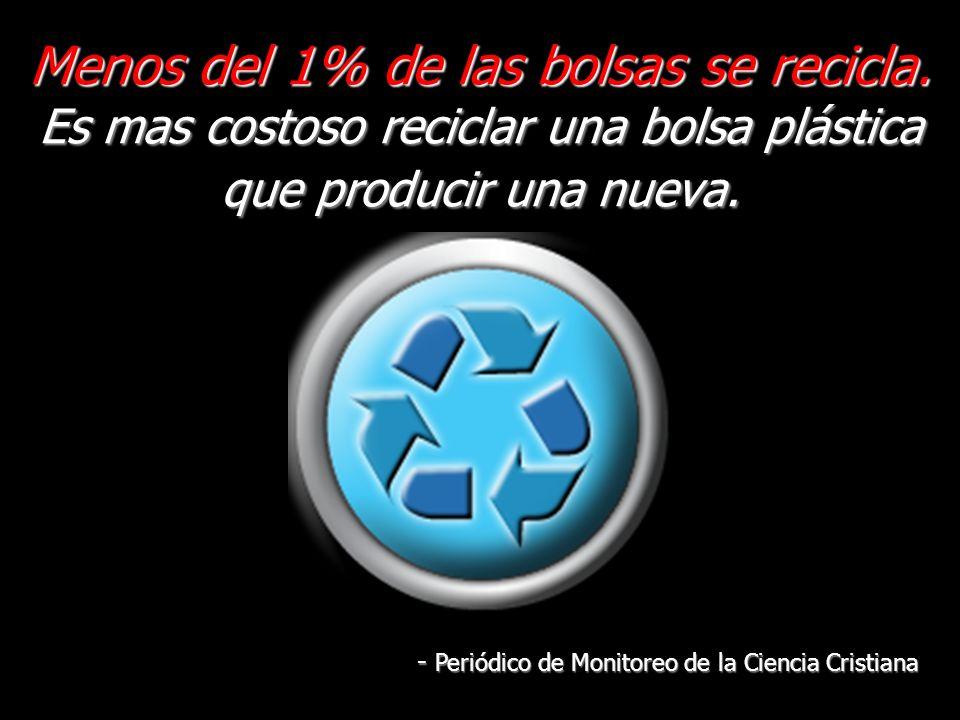 Menos del 1% de las bolsas se recicla.
